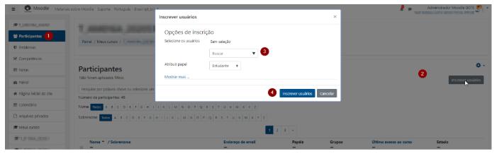 Nesta figura, mostra a tela do Moodle, mostrando como fazer a inserção de usuários na funcionalidade Inscrever usuários.