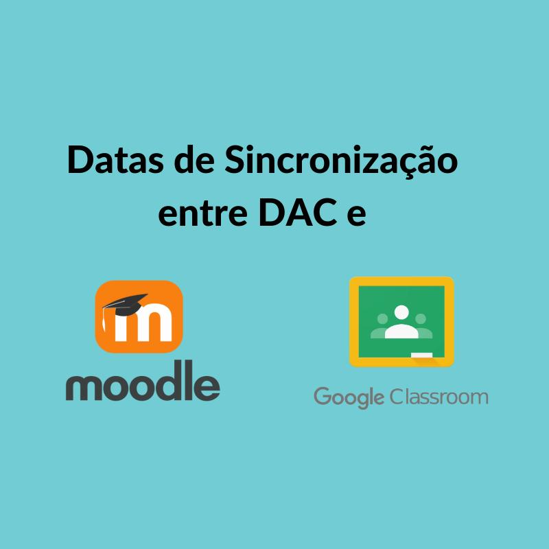 Datas de Sincronização entre DAC x Moodle x Google Classroom